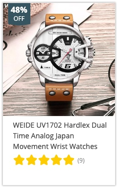 WEIDE UV1702 Hardlex Dual Time Analog Japan Movement Wrist Watches 8